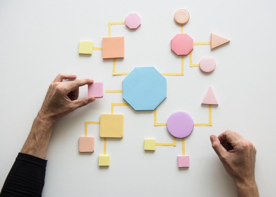 Symbolische Darstellung eines komplexen Prozesses mit Teilen aus Formen und Farben