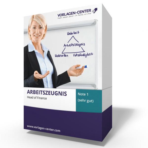 Arbeitszeugnis / Zwischenzeugnis Head of Finance